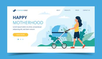 Happy motherhood landing page - woman walking with a baby carriage in the park. Concept vector illustration for parenthood products and services.