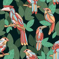 Hand drawn bird tropical green leaf seamless pattern