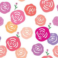 Rose and white background seamless pattern vector. vector