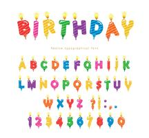 Birthday candles colorful font design. Bright festive ABC letters and numbers isolated on white. Vector