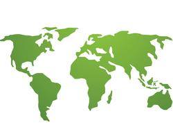 Logotipo de vetor verde global do mundo