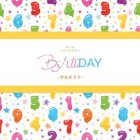 Birthday party invitation card for kids. Included seamless pattern with glossy colorful balloon numbers.