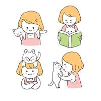 Dessin animé jolie fille et chat set vector