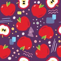 Cute red apples seamless pattern vector.