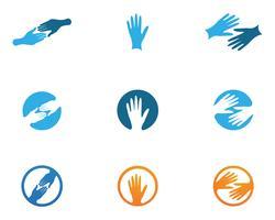Handvård Logo Mall vektorikon Affärssymboler