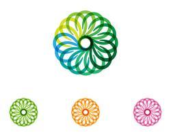 bloemenpatronenembleem en symbolen op een witte achtergrond
