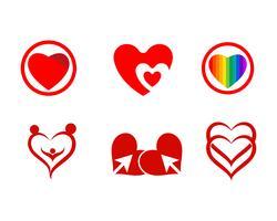 Rotes Logo der Liebe und Symbolvektor