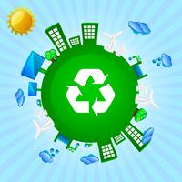Green planet - recycling, wind and solar energy vector