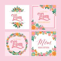 Happy Mother's Day Hand Lettering Vector Template with Flower