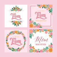 Día de la madre feliz mano Letras plantilla de vector con flor
