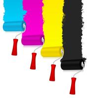 CMYK paint rollers with redecorated wall