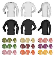 Long sleeve blank male t-shirt template. Front, rear and side view.