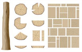 Sats av olika sektioner av trä