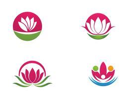 Icona di modello di logo di progettazione di vettore dei fiori di Lotus di bellezza - vettore
