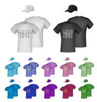 Modelos de t-shirt masculinos simples. Fundo isolado. Verso, frente, vistas laterais.