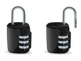 Open and closed padlocks set vector