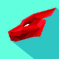 Logo Dragon Origami Géométrique Rouge Design