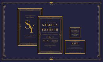 Classic Navy Premium Vintage Style Art Deco Engagement / Wedding Invitation with gold color with frame. Include Thank you Tags and RSVP. Vector Illustration