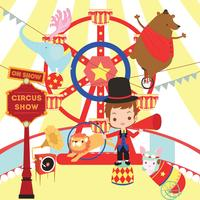 Retro Circus Show  Cute Animal Vector illustration