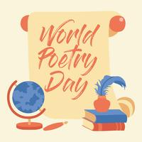 Hand Lettering Calligraphy World Poetry Day - Vector Illustration - Vector