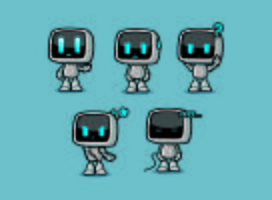 projetos de personagem de caixa robô bonito com poses de emoções