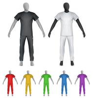 Plain t-shirt and sweatpants on mannequin template