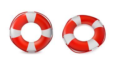 Bóias salva-vidas isoladas no fundo branco