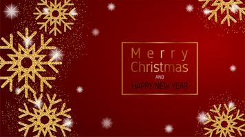 Merry Christmas and Happy new year greeting card, banner, advertising background in paper cut style. Vector illustration.