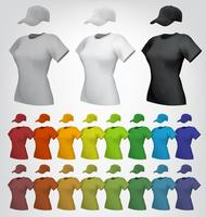 Modelo feminino simples de t-shirt e boné.