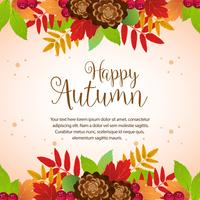 happy autumn colorful foliage border