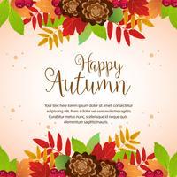 frontière de feuillage coloré automne heureux