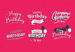 Happy Birthday Typography Vol 4 Vector