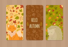 Tarjeta de felicitaciones linda del otoño de los animales