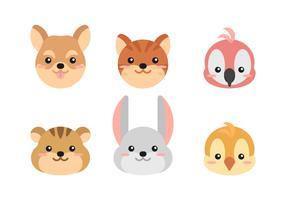 conjunto de rostos de animais