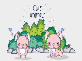 Conejitos en el bosque dibujos animados de doodle