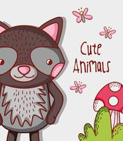 Cute raccoon doodle cartoon