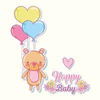 Urso fofo com balões