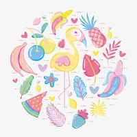 Flamingo pastel picante e frutas