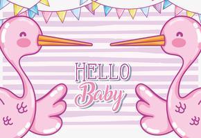 Olá cartão de chá de bebê