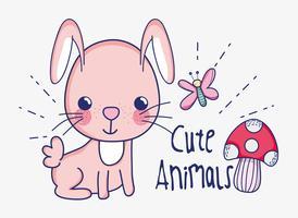 Söt kanin doodle tecknad film