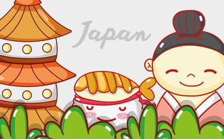 Japanese gastronomy cute kawaii cartoons