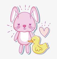 Tarjeta de dibujos animados lindo conejito