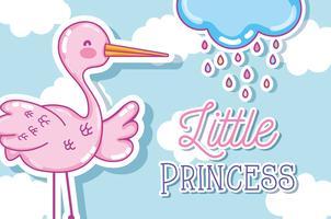 Cartão pequeno bonito dos desenhos animados da princesa