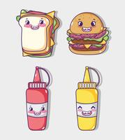Cartoni kawaii di raccolta di fast food