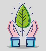 affärsman händer med tropiska blad