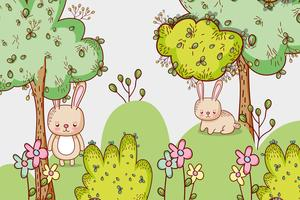 Bunnies in the forest doodle cartoons