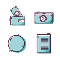 set graphic liner flat icons design