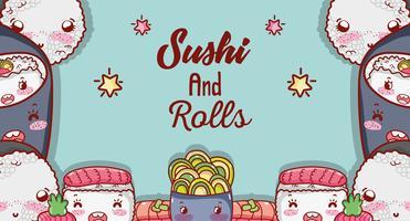 Sushi y rollos lindos dibujos animados kawaii