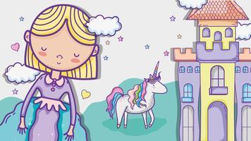 Nette Handzeichnungskarikatur kleiner Prinzessin