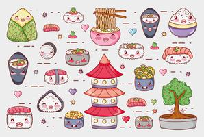 Sushi and rolls cute kawaii cartoons vector